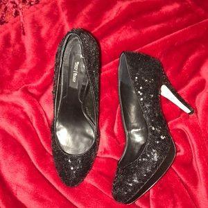Black sequined heels